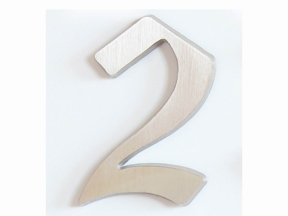 "C125 Číslice 125 mm -kartáč.stříbro ""2"" 62"