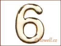 C37  Číslo 37mm zlatá '6'