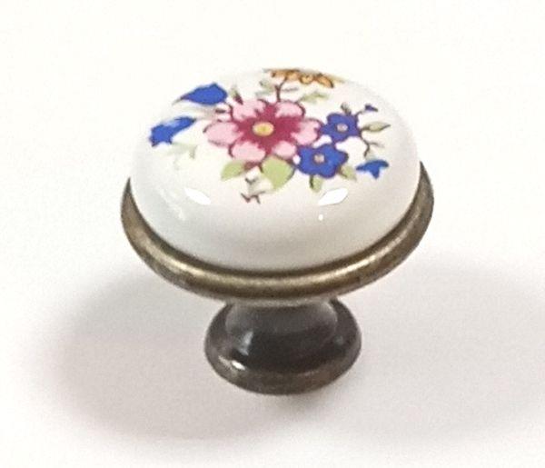 OLIN knopek STARÁ MOSAZ/ RŮŽE keramika
