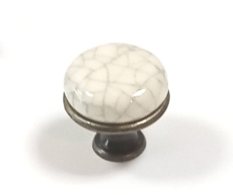 OLIN knopek STARÁ MOZAZ/POPRASKANÁ keramika